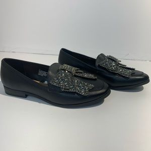 Faux Leather Beaded Bow Loafers - A New Day